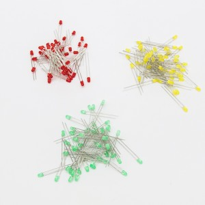 Set Led 3mm con flangia - Verde-50 pezzi  Rosso-50 pezzi  giallo-50 pezzi